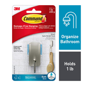 Command Bath Small Hook With Water-Resistant Adhesive, Satin Nickel, Holds 1 lb, 1 Hook, 2 Strips, BATH33-SN-ES Bath Hook