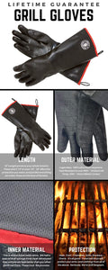 "Grill Sergeant Oil & Heat Resistant Oven, BBQ, Grilling Cooking Gloves, M/L, 18"" M/L - 18"""