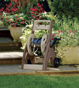 Suncast JSF175 175 ft Hosemobile Reel Cart Hose Caddy with Large Easy to Grip Crank for Garden, Lawn, and Patio, 175', Bronze and Taupe