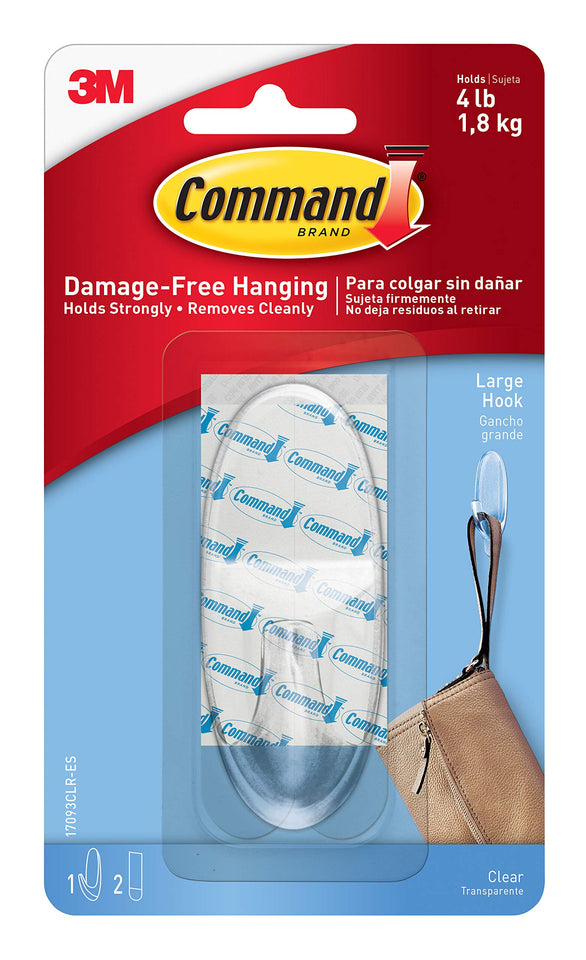 Command Hook, Decorate Damage-Free, 1 hook, 2 strips, Indoor Use (17093CLRES),Clear - Indoor Clear