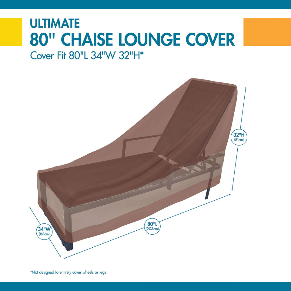 Duck Covers Ultimate Waterproof 80 Inch Patio Chaise Lounge Chair Cover 80L x 34W x 32H Cover Only