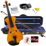 Electric Violin Bunnel NEXT Outfit 4/4 Full Size (HONEY)- Carrying Case and Accessories Included - Headphone Jack - Highest Quality with Piezo ceramic pick-up By Kennedy Violins Marigold