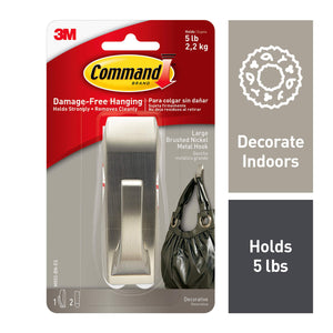 Command Modern Reflections Metal Hook, Large, Brushed Nickel, 1-Hook (MR03-BN-ES), Great for dorm decor