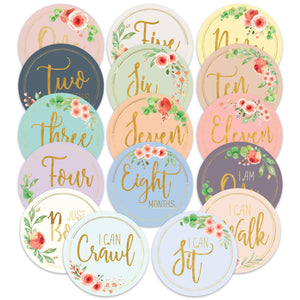 Baby Milestone Stickers by Baby Nest Designs - Set of 16 Baby Monthly Stickers. Cute Floral Stickers/Each Month Stickers for Baby Girl - Newborn Photography Props, Fun Baby Shower Gifts Gold Flowers