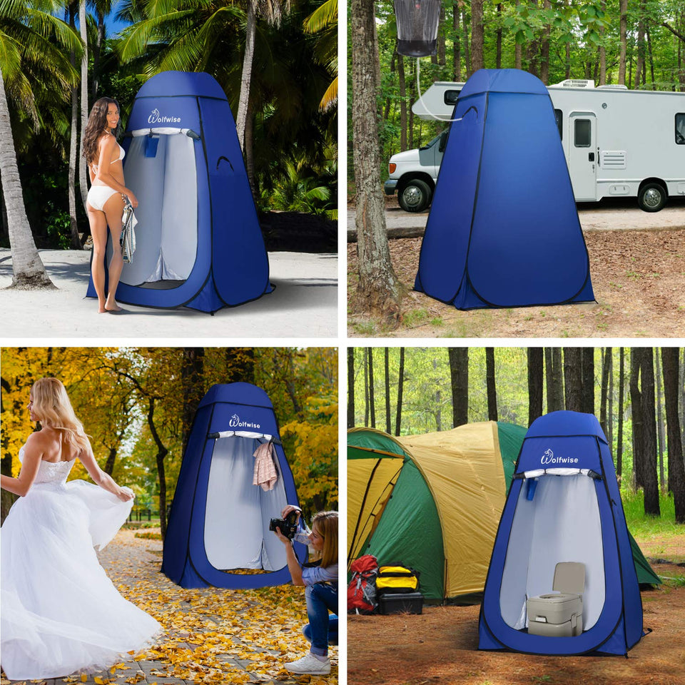 WolfWise Pop Up Privacy Shower Tent Portable Outdoor Sun Shelter Camp Toilet Changing Dressing Room Blue