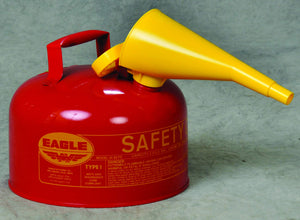 "Eagle UI-25-FS Type I Metal Safety Can with F-15 Funnel, Flammables, 11-1/4"" Width x 10"" Depth, 2-1/2 Gallon Capacity, Red Ez Store USA"