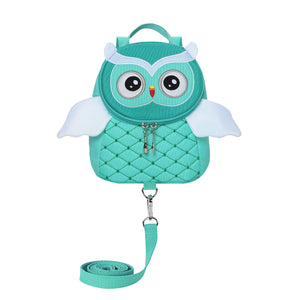 Toddler Girls Boys Cute Butterfly Owl Penguin Backpacks with Safety Leash Kid Child Anti-Lost Bags for 2-5 Years (Owl Light Green) Owl Light Green