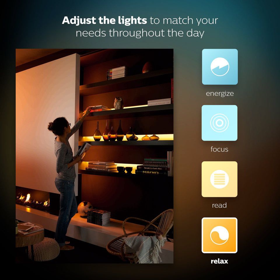 Philips Hue LightStrip Plus Dimmable LED Smart Light Extension (Requires Lightstrip Base & Hue Hub, Works with Alexa, HomeKit & Google Assistant) Extension / Add-On