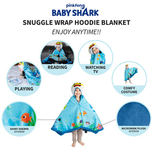"Franco Kids Bedding Super Soft and Cozy Snuggle Wrap Hoodie Blanket, 55"" x 31"", Baby Shark 55"" x 31"""