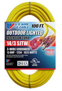 US Wire and Cable 14/3 100-Feet SJTW Yellow Lighted Extension Cord 1-Pack