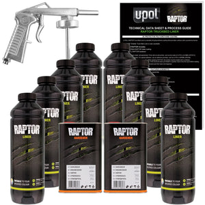 U-POL Raptor Tintable Urethane Spray-On Truck Bed Liner Kit w/ FREE Spray Gun, 8 Liters