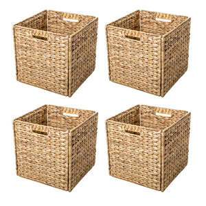 Trademark Innovations Foldable Hyacinth Storage Baskets with Iron Wire Frame (Set of 4) Set of 4