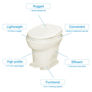 Aqua-Magic V RV Toilet Pedal Flush /High Profile / Parchment - Thetford 31672 High