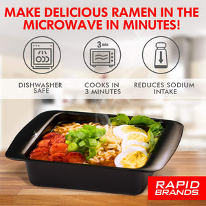 Rapid Ramen Cooker | Microwave Ramen in 3 Minutes | Perfect for Dorm, Small Kitchen, or Office | Dishwasher-Safe, Microwaveable, BPA-Free (Black 2 Pack) Black