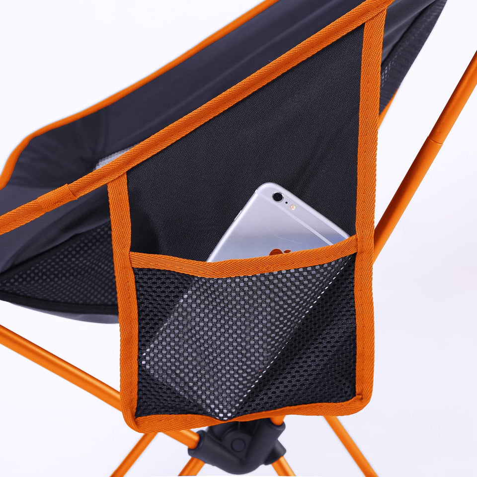 MOON LENCE Outdoor Ultralight Portable Folding Chairs with Carry Bag Heavy Duty 242lbs Capacity Camping Folding Chairs Beach Chairs Orange