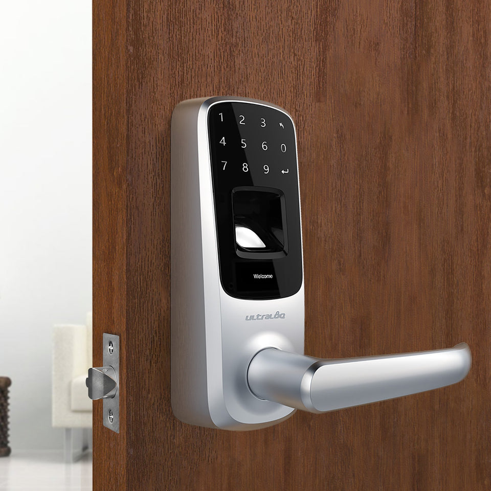Ultraloq UL3 Fingerprint and Touchscreen Keyless Smart Lever Door Lock (Satin Nickel) | 3-in-1 Keyless Entry | Secure Finger ID | Anti-peep Code | Premium Construction Material | Match Home Aesthetics Satin Nickel