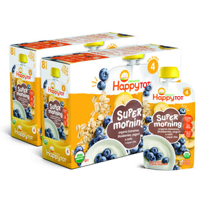 Happy Tot Organic Stage 4 Super Morning Organic Bananas Blueberries Yogurt & Oats + Super Chia, 4 Ounce Pouch (Pack of 8) (Packaging May Vary) Banana Blueberry Yogurt & Oat 8 Count