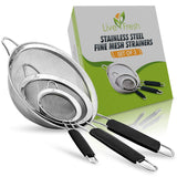 LiveFresh Mesh Strainer Stainless Set - Premium Fine Stainless Steel Fine Mesh Strainers, Colanders and Sifters Crafted for Quinoa & Amaranth with Comfortable Non Slip Handles - 3 Sizes