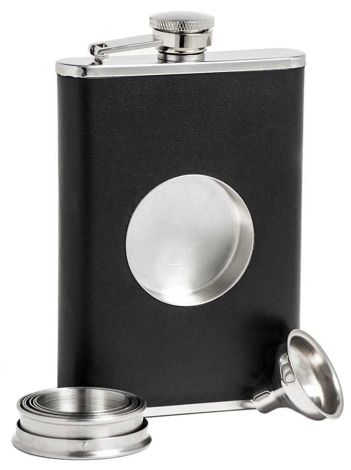 Shot Flask - Stainless Steel 8 oz Hip Flask, Built-in Collapsible 2 Oz. Shot Glass & Flask Funnel - Everything You Need to Pour Shots on the Go - BarMe Brand