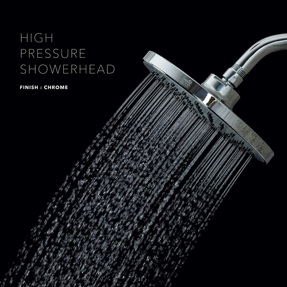 Luxe RainLuxe Shower Head Round High Pressure High Flow Showerhead Chrome Finish Universal Replacement For Bathroom Shower Heads 8 Inch