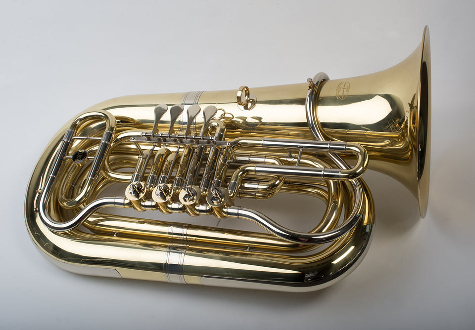 "Tempest Agility Winds BBb Rotary Tuba, Sonorous Model, 4 Valves, Compact Design, Powerful Sound, .750 Bore, 15"" Inch Bell, Hard Case with Wheels, 5-Year Warranty"