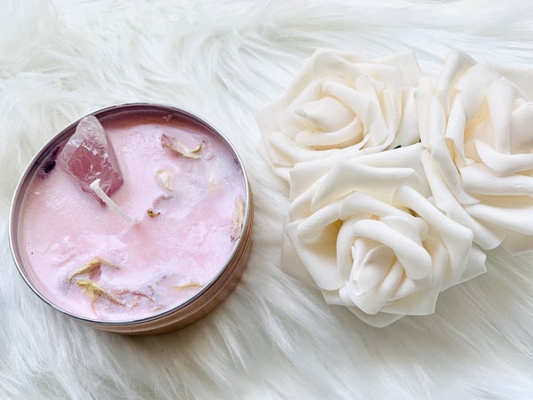 Rose Quartz. Rose Gold Tin w/ Rose Quartz Crystals - Pressbe Workshop