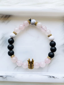 Rose Quartz bracelet with charm - Pressbe Workshop