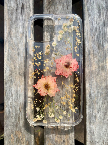 Pink Rose & Baby's Breath iPhone 12 custom case