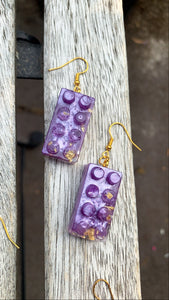 Building Block Earrings. Purple - Pressbe Workshop