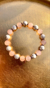 Rose Quartz Bracelet with Bow Charm - Pressbe Workshop