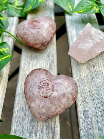 Heart Rose Quartz Orgonite - Pressbe Workshop