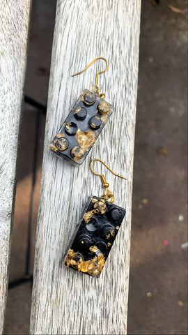 Building Block Earrings. Black - Pressbe Workshop