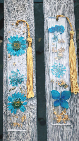 Blue floral bookmark set - Pressbe Workshop