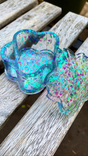 Blue Holographic Flower trinket box - Pressbe Workshop