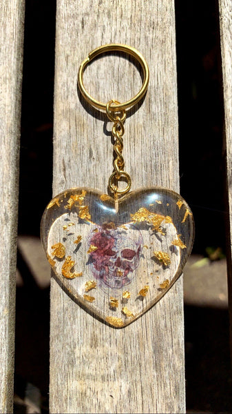 Rose Skull Heart Keychain - Pressbe Workshop