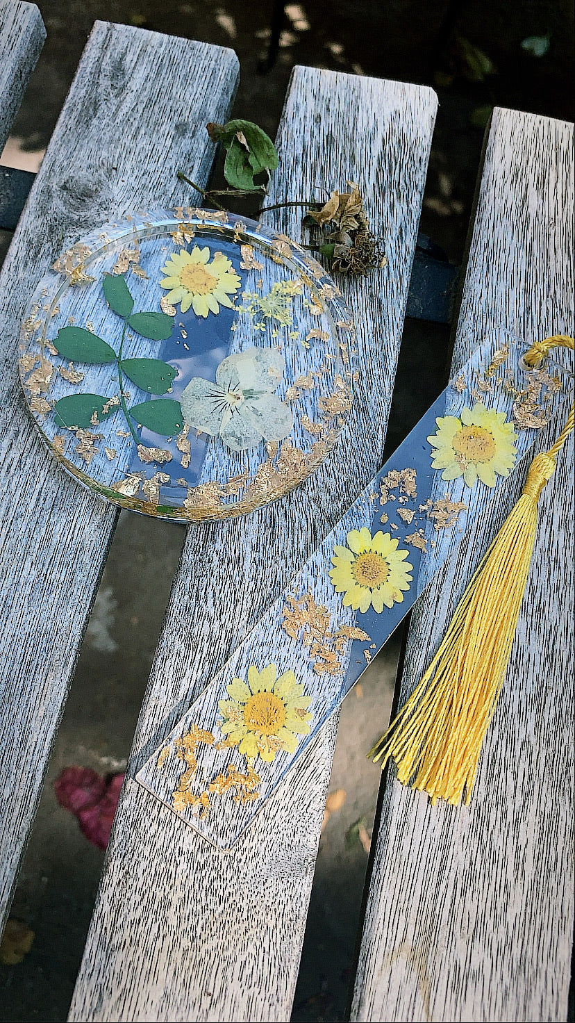 Yellow Floral Coaster & Bookmark set - Pressbe Workshop