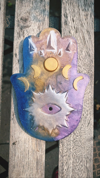 """Moon phases"" Hamsa Incense Burner (Purple,Gold, Blue) - Pressbe Workshop"