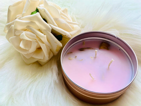 Rose Quartz  Candle . Rose Gold Tin - Pressbe Workshop