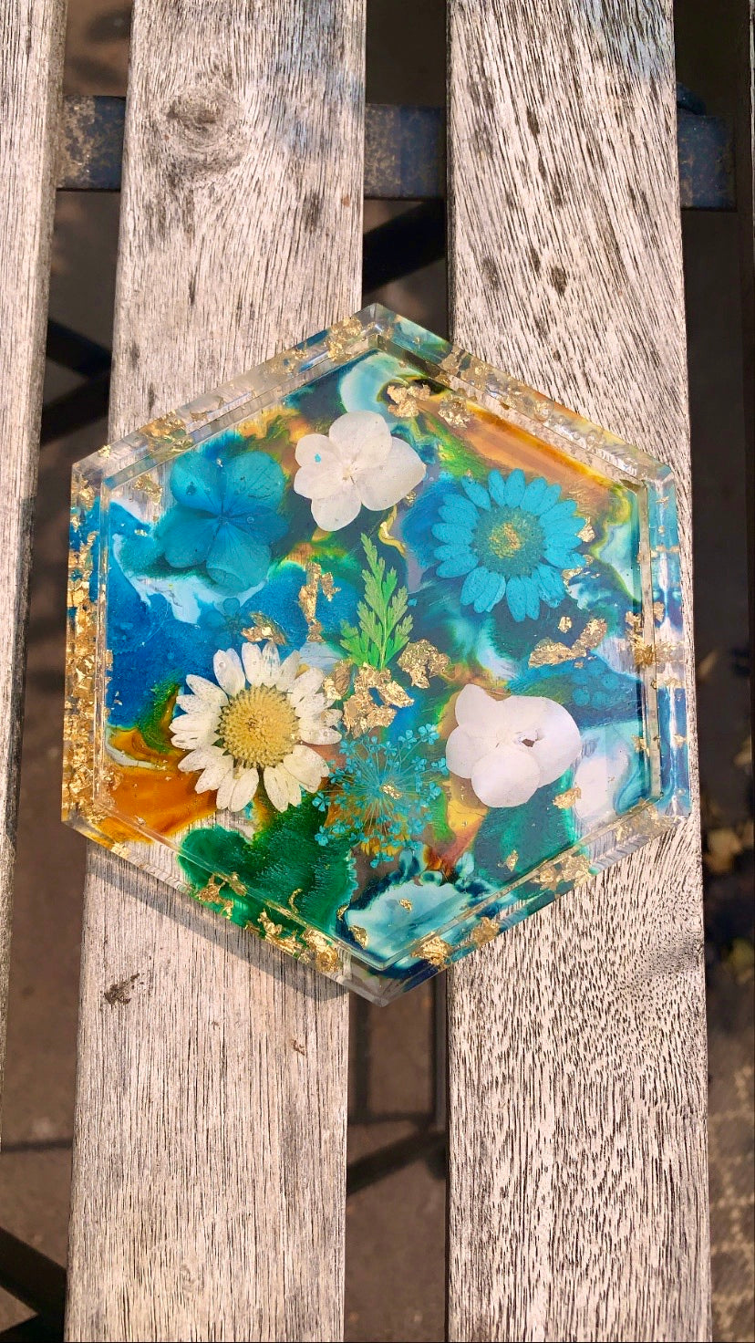 Hexagon Coaster (Blue, Yellow, Teal, Floral) - Pressbe Workshop