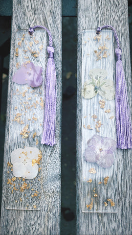 Purple Floral Bookmark set - Pressbe Workshop