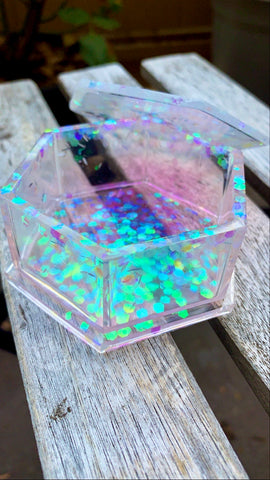 Holographic Hexagon Trinket Box - Pressbe Workshop