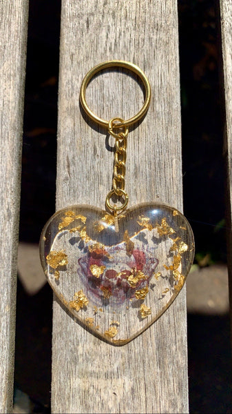 Butterfly Rose Skull Heart Keychain - Pressbe Workshop
