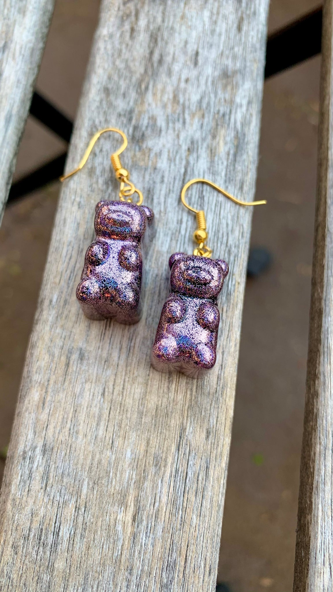 Pink Hyper Holo Gummy Bear Earrings - Pressbe Workshop