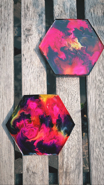 Hexagon Coaster set (Alcohol ink: pink, black, yellow) - Pressbe Workshop