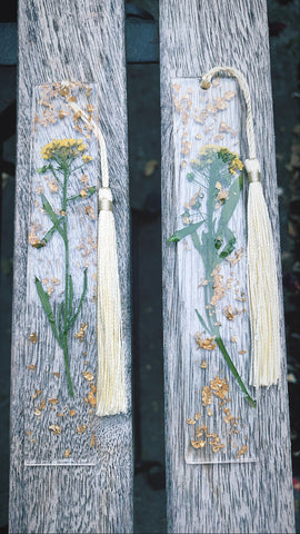 Yellow Floral bookmark set - Pressbe Workshop