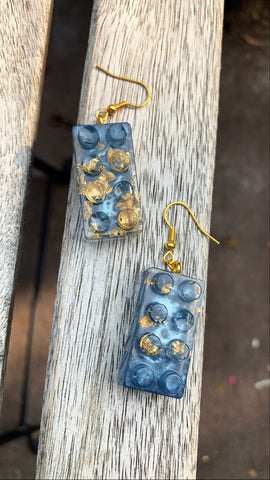 Building Block Earrings. Blue - Pressbe Workshop