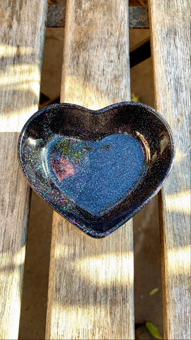 Black Holographic Glitter Heart Dish - Pressbe Workshop