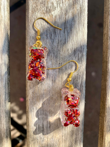 Red Glitter Gummy Bear Earrings - Pressbe Workshop