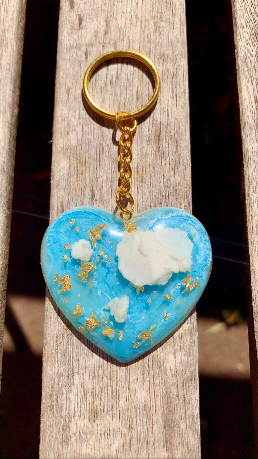 Blue Skies Heart Keychain #2 - Pressbe Workshop
