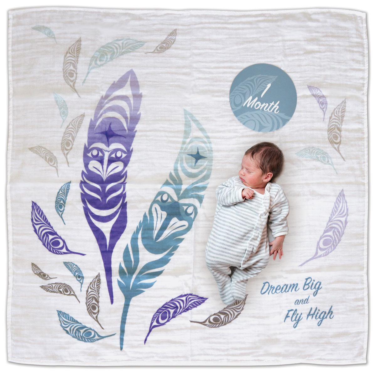 Baby Blanket and Milestone Sets- Feathers by Simone Diamond